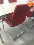 Vergaderset - 160x80cm - Ahorn - 4 poots - Chroom frame - Inclusief 4 vergaderstoelen