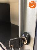RRoldeurkast - Ahrend - 110x120x45cm - wit met lichtblauwe deur