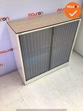Roldeurkast - Ahrend - 110x120x45cm - wit met lichtblauwe deur