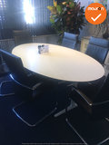 Ahrend vergadertafel - 220 x 125cm - ovaal - Wit