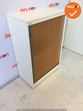 Roldeurkast - Ahrend - 144x80x45cm - Wit - Oranje deuren