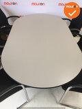 Ahrend vergadertafel - 200 x 113cm - ovaal - Grijs - Trespa