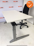 Ahrend Refurbished Werkplek - Inclusief ladeblok en bureaustoel - 160x80 - Wit hout - In hoogte verstelbaar - Zilvergrijs Essa