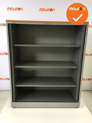 Roldeurkast - Ahrend - 144x120x45cm - Zilvergrijs - Antraciet deuren