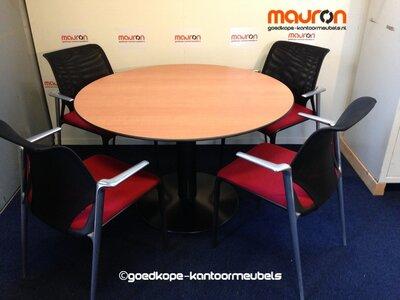 Ahrend vergadertafel - rond - 120cm - kastanje - volkern