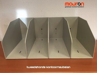 Opbergbak voor dossiers in archiefkasten 37x22x15cm - beige/wit