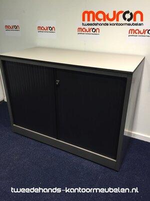 Roldeurkast - Ahrend - 74x100x45cm - antracietgrijs - zwarte deuren