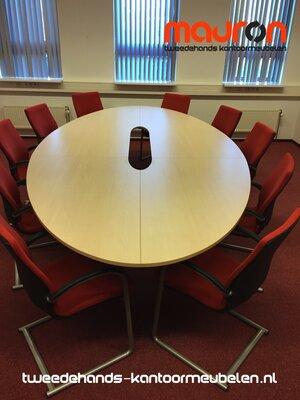 Ahrend 500 vergadertafel - 380 x 185cm - ovaal - licht ahorn