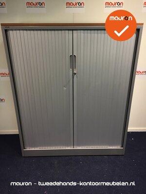 Roldeurkast - Ahrend - 144x120x45cm - Zilvergrijs - grijze deuren