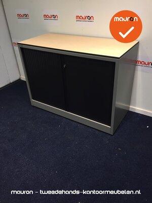 Roldeurkast - Ahrend - 74x100x45cm - zilvergrijs - zwarte deuren