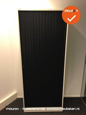 Roldeurkast - Ahrend - 195x80x45cm - Wit met zwarte deur