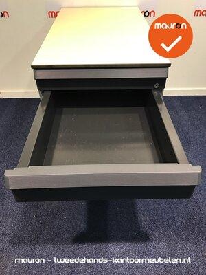 Ladeblok - 57x42x76cm - Zilvergrijs - 4 laden - kunststof front - topblad naar keuze