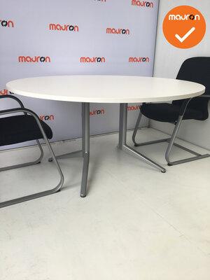 Ahrend vergadertafel - rond - wit hout - 150cm - zilvergrijs onderstel