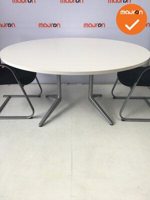 Ahrend vergadertafel - rond - wit hout - 150cm - kleur poot naar keuze