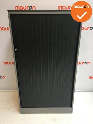 Roldeurkast - Ahrend - 144x80x45cm - zilvergrijs - zwarte deuren - Topblad naar keuze