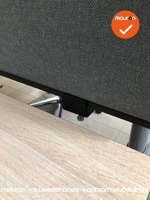 Akoestisch tafelscherm - dubbelzijdig - 180x40cm - Grijs