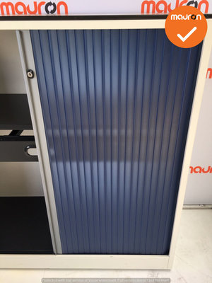 Roldeurkast - Ahrend - 110x120x45cm - wit met donkerblauwe deur