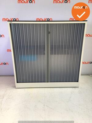 Roldeurkast - Ahrend - 110x120x45cm - wit met transparante deur