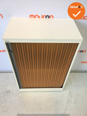 Roldeurkast - Ahrend - 144x80x45cm - Wit - Oranje deuren - Topblad naar keuze