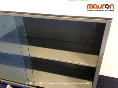Schuifdeurkast - Ahrend - antraciet - 71x120x35cmB - glas