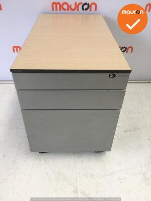 Ahrend Werkplek - Inclusief ladeblok en bureaustoel - 180x90 - Ahorn - In hoogte verstelbaar -  Zilvergrijs Essa