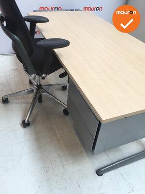 Ahrend Slinger Werkplek - Inclusief ladeblok en bureaustoel - 180x80 - Ahorn -  Zilvergrijs 500