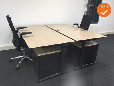 Ahrend bureau - 180x90 cm - Grijs Eiken - volkern -  500 - Kleur poot naar keuze