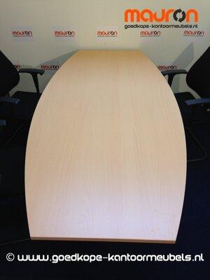 Vergadertafel tonvormig - 200x100/60cm - ahorn
