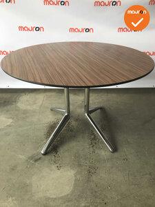 Ahrend vergadertafel - rond - Bruin Trespa -  Mehes - 120cm - Chroom onderstel