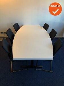 Vergadertafel 240x120 - tonvormig - wit melamine - 48mm dik