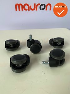 Bureaustoelwiel - Ahrend 220 - zacht (voor harde vloeren) - nieuw - set van 5 stuks