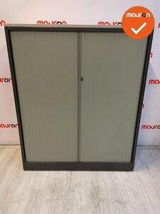 Ahrend roldeurkast - 144x120 - zilvergrijs met licht beige roldeuren