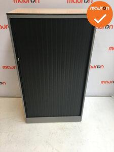Roldeurkast - Ahrend - 144x80x45cm - zilvergrijs - zwarte deuren