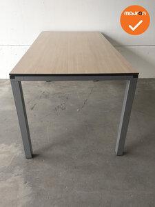 Ahrend vergadertafel - 160x80cm - Grijs eiken - 4 poots - Zilvergrijs frame